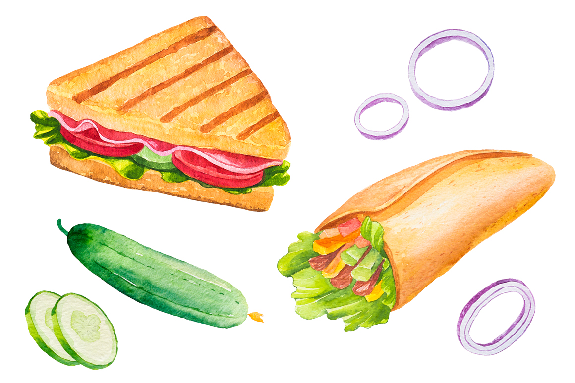 Fast Food Watercolor Set example image 8