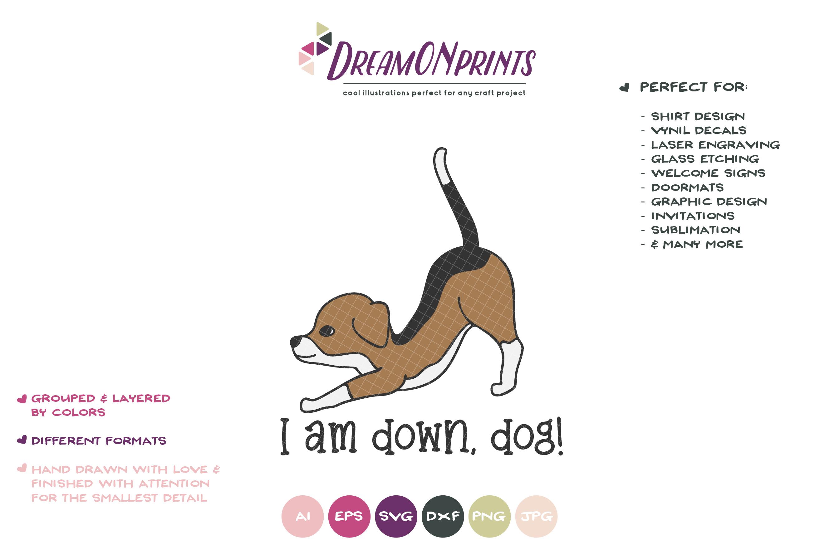 Yoga Dog SVG | Yoga Poses Down Dog | Beagle Illustration example image 2