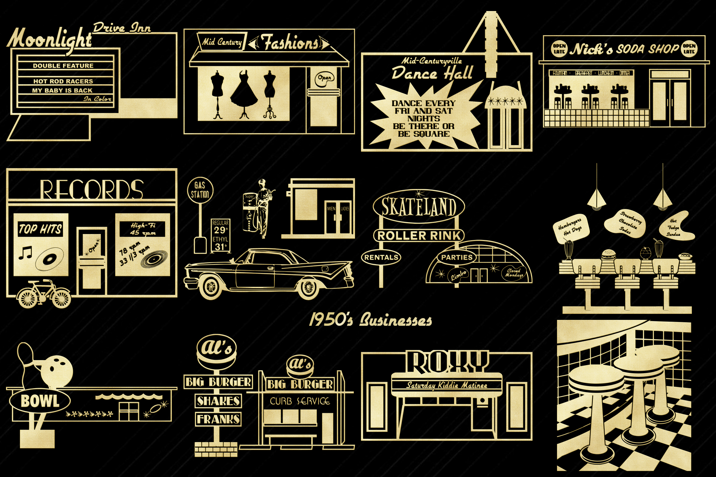 Retro 1950s Gold Foil Life and Party ClipArt example image 5