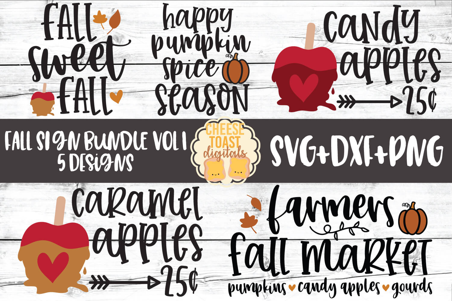 Fall Sign Bundle Vol 1 - Autumn SVG PNG DXF Cut Files example image 1