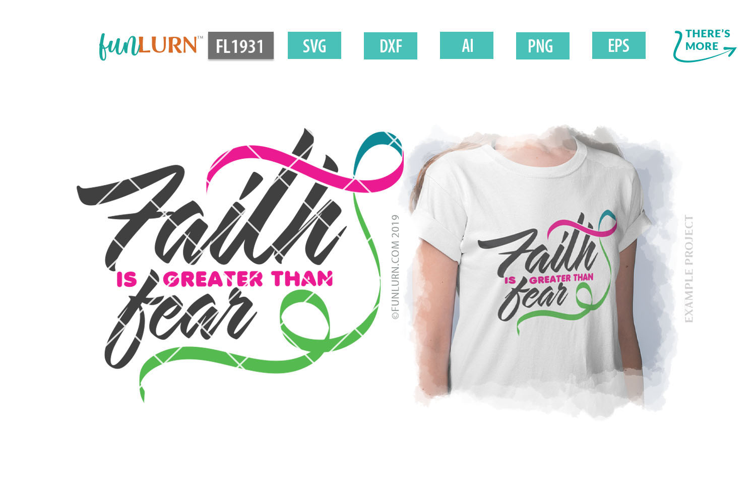 Faith is Greater Than Fear Pink Teal Green Ribbon SVG example image 1