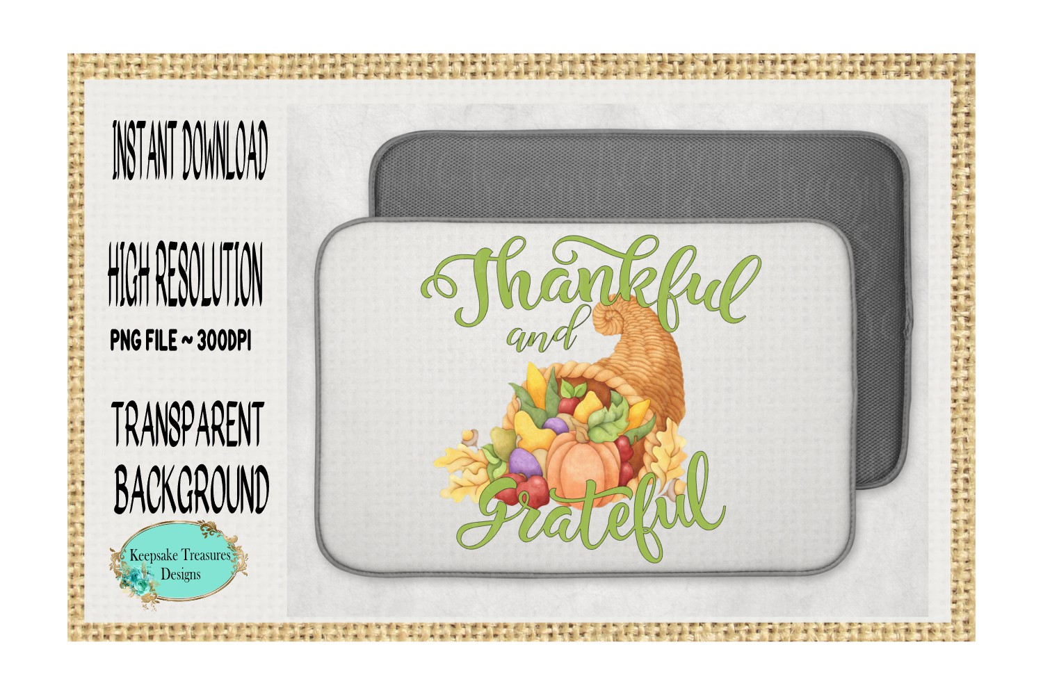 Thankful and Grateful, Sublimation Design example image 2