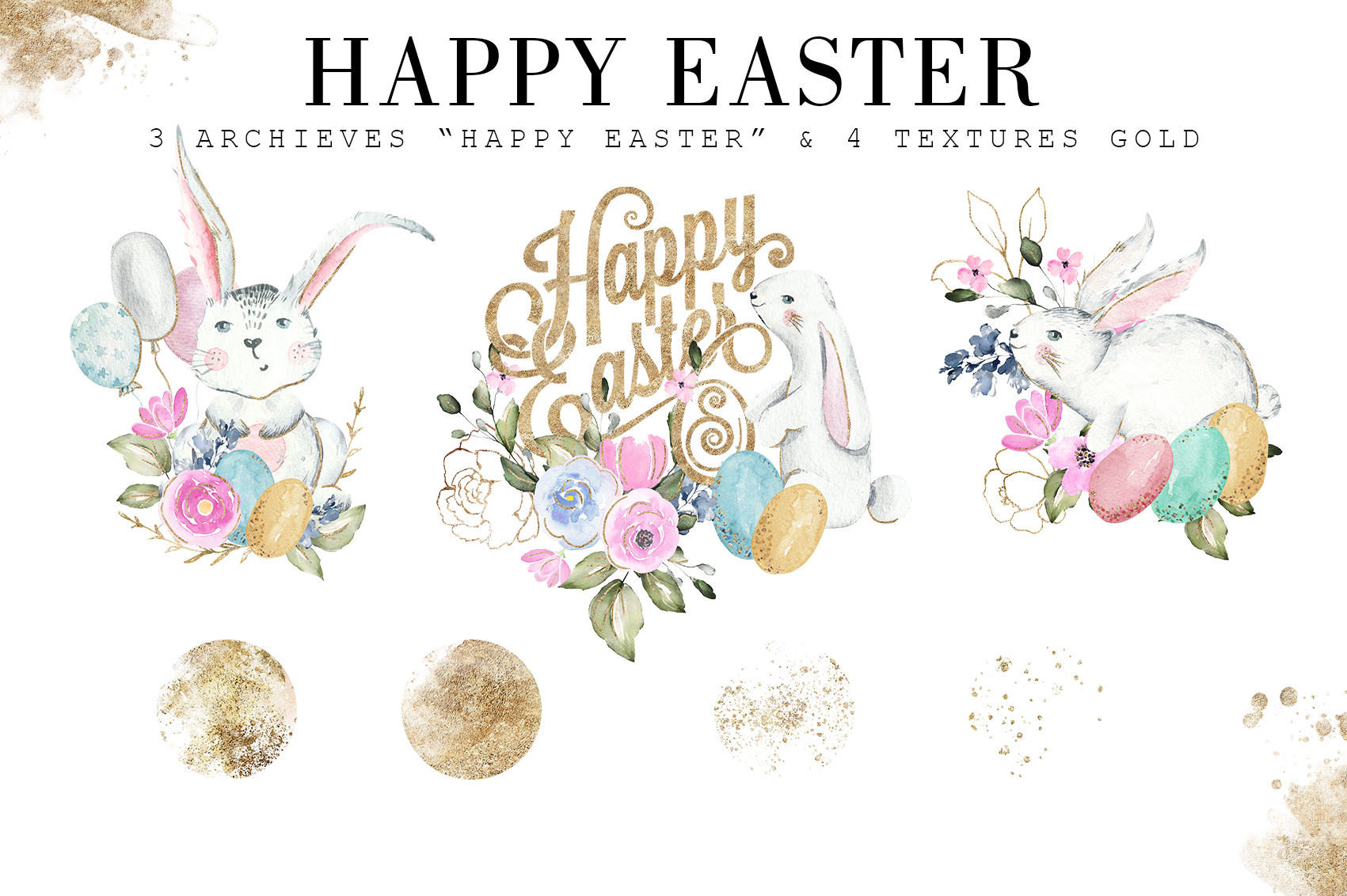 Happy Easter|Watercolor Elements clipArt example image 5