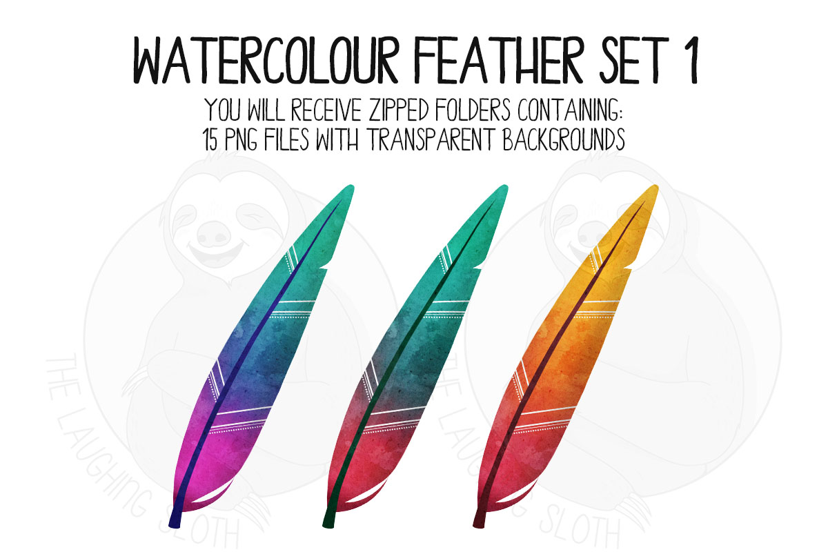 Watercolor Bright Feather Clip Art Set 1 example image 4