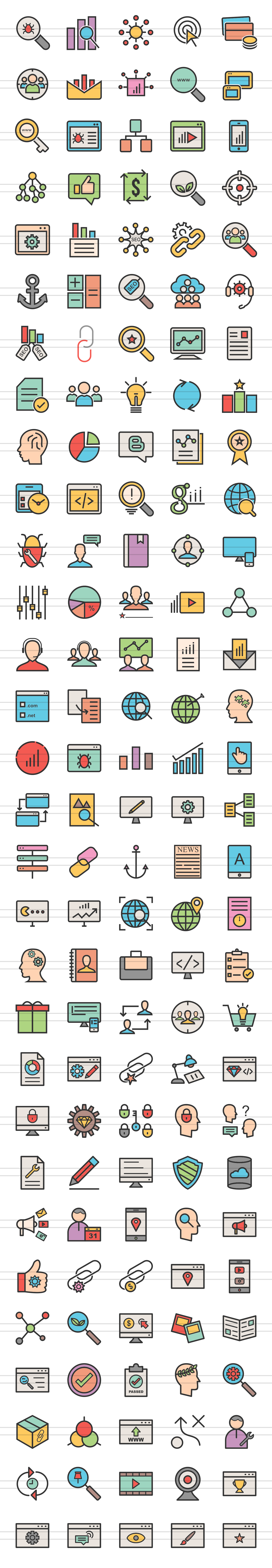 150 IT Services Filled Line Icons example image 2