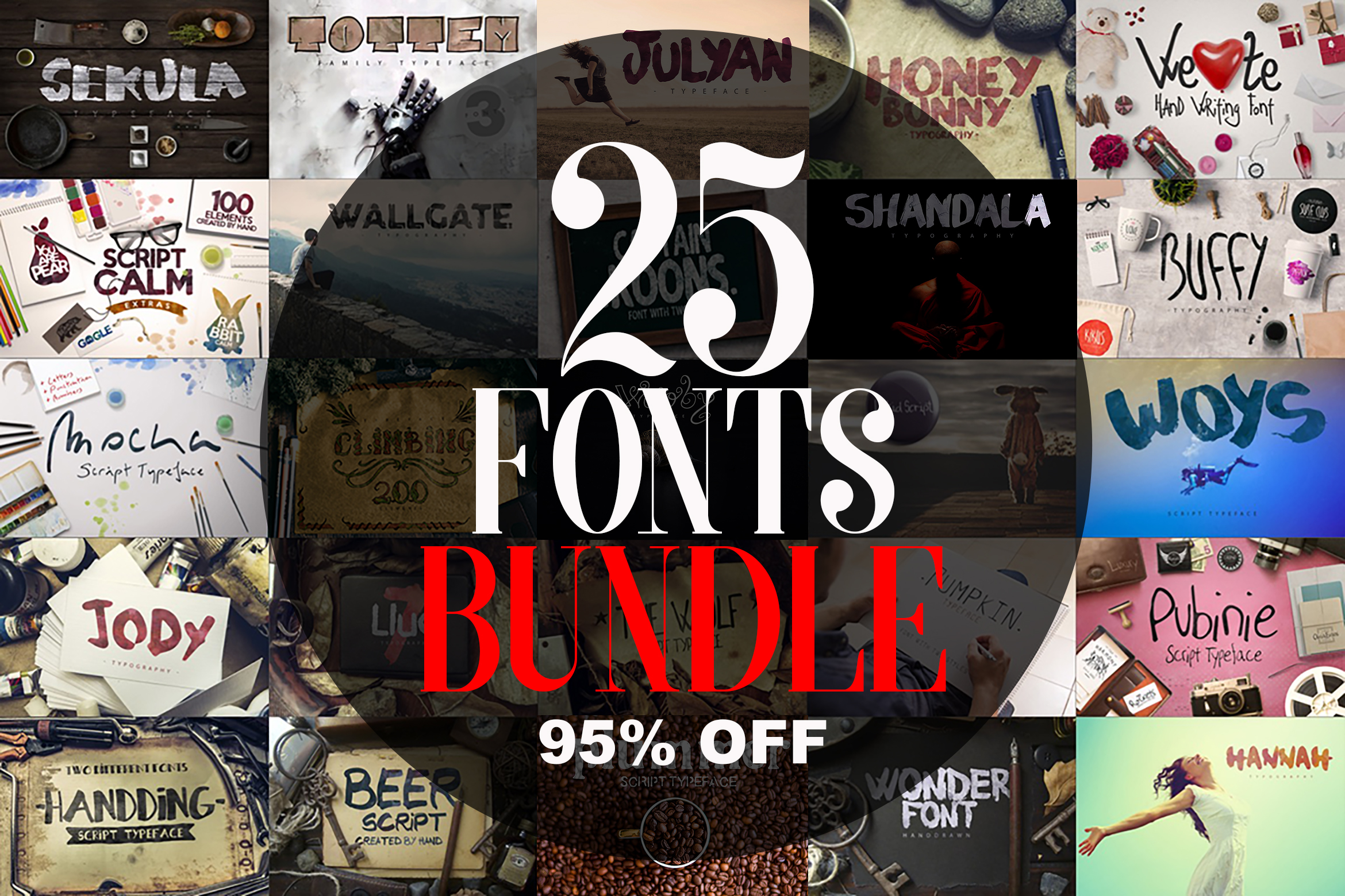25 Fonts Bundle example image 1