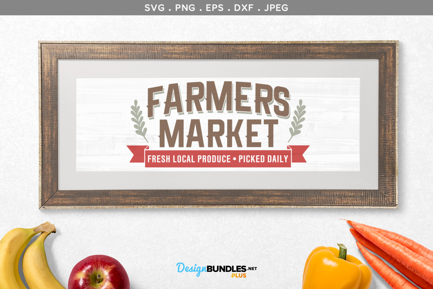Farmers Market Fresh Local Produce - svg & printable example image 1