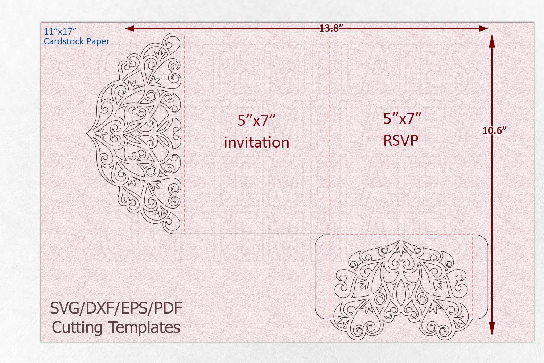 Trifold wedding invitation svg dxf pdf laser cut cricut file example image 5