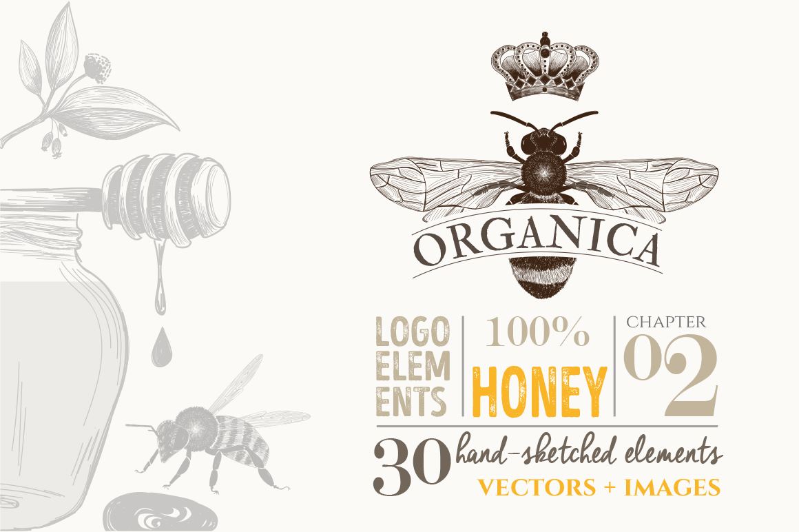 ORGANIC LOGO ELEMENTS  HONEY example image 1