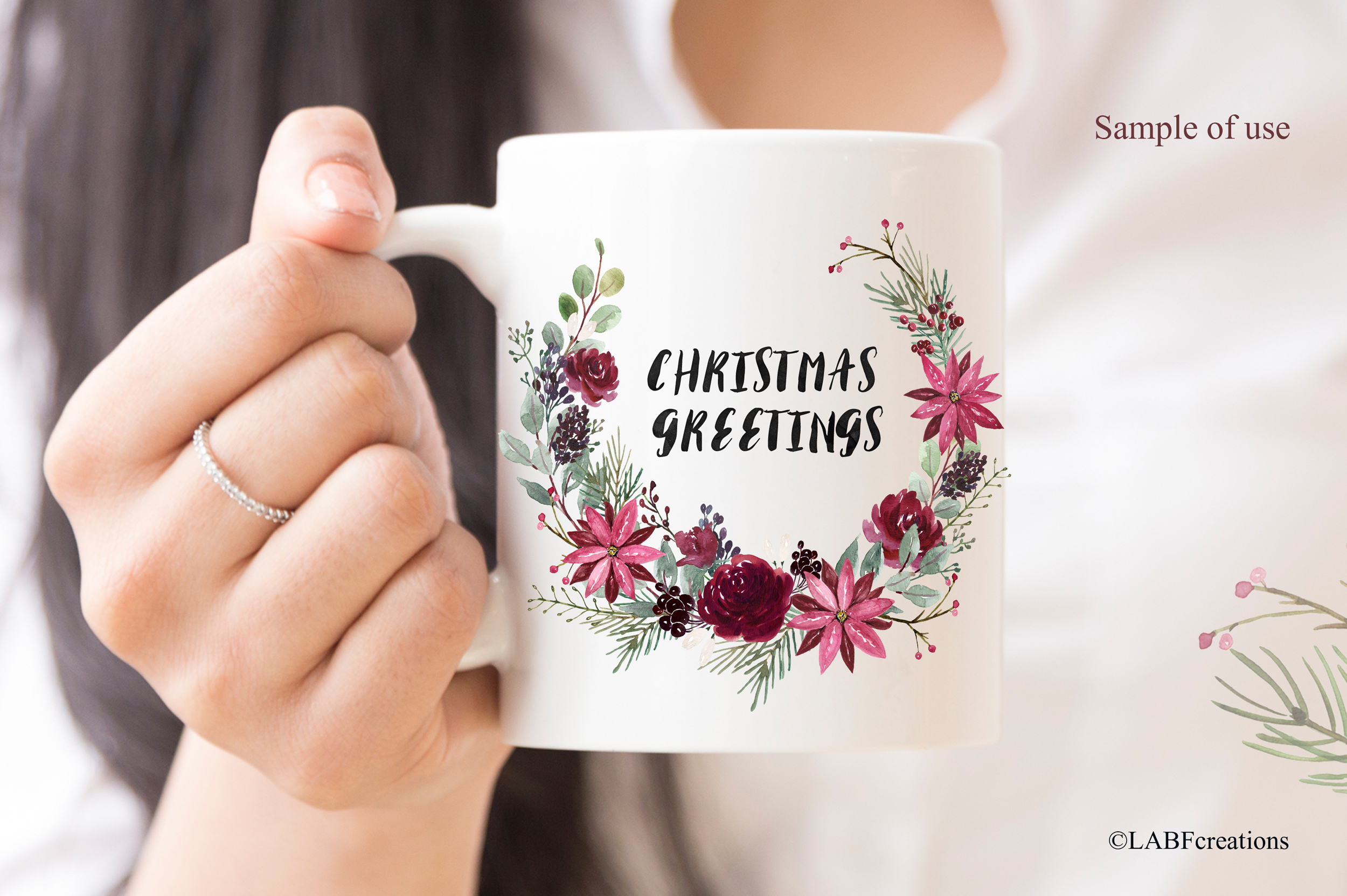 Christmas greetings. Hand drawn watercolor collection. example image 12