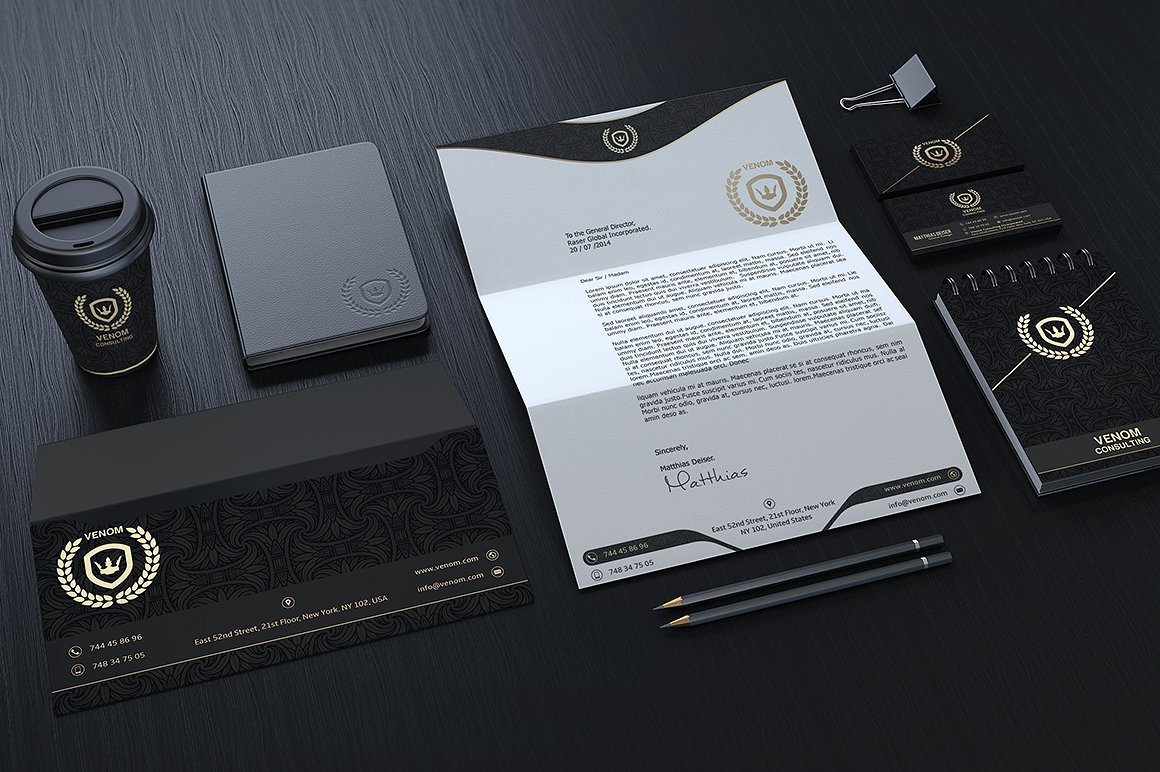 Gold And Black Corporate Identity example image 2