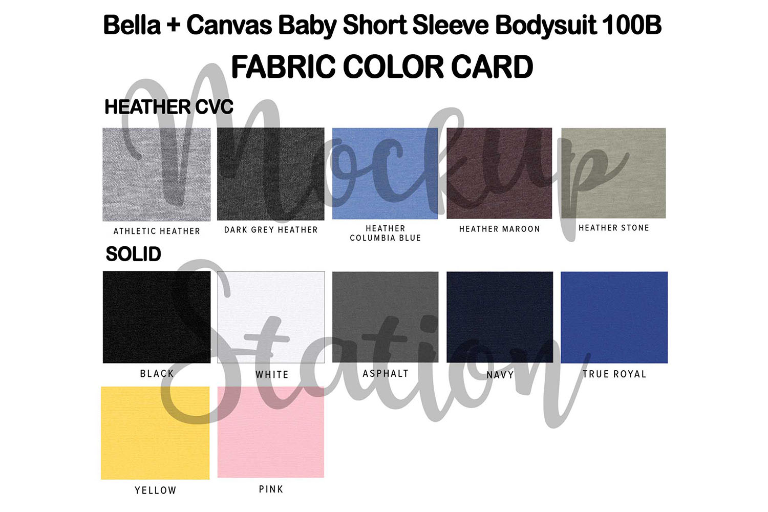 Color Chart for Bella Canvas 100B Baby Bodysuit Mockup example image 3