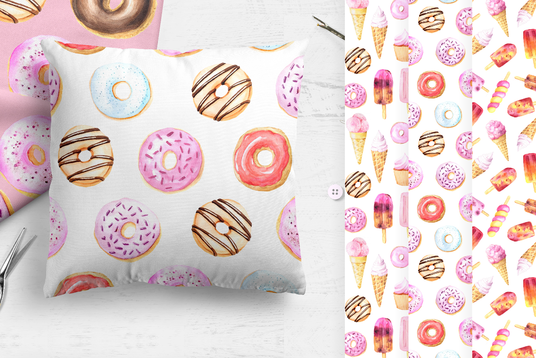 15 Watercolor Sweet Seamless Pattern example image 5