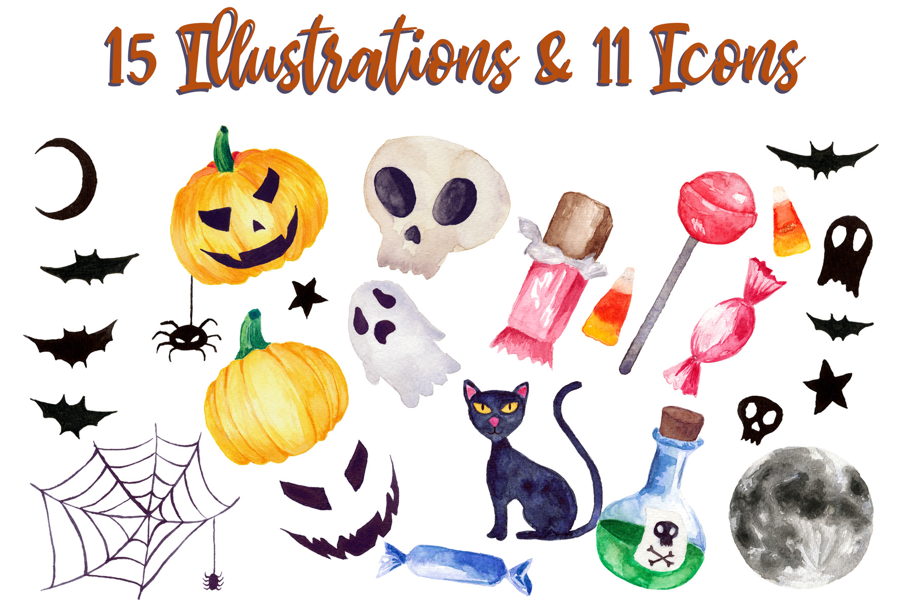 Halloween Watercolor Clip Art Pack! With Vector Versions!!/