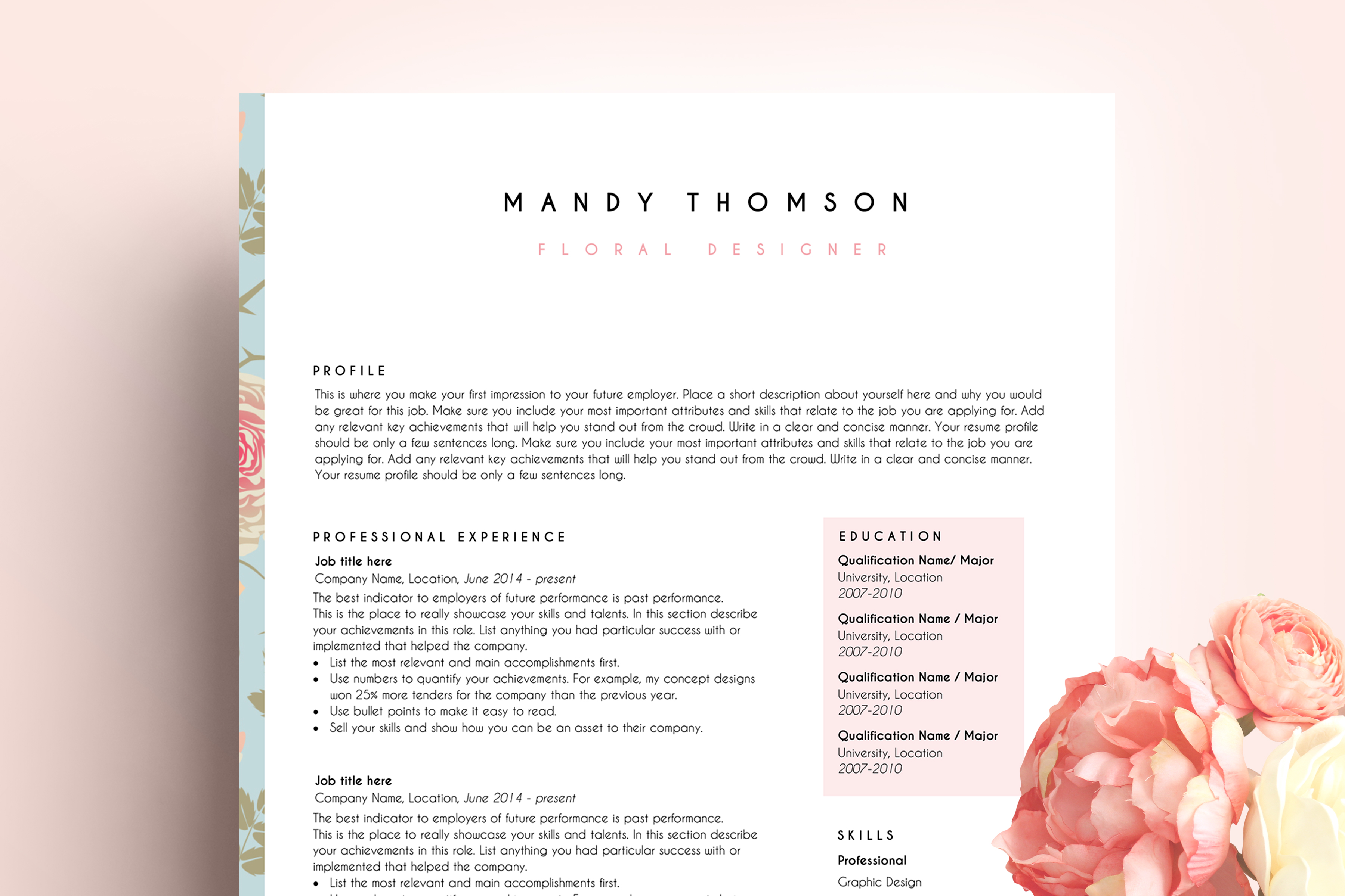 Creative Resume Template Word Floral Feminine Example Image 1
