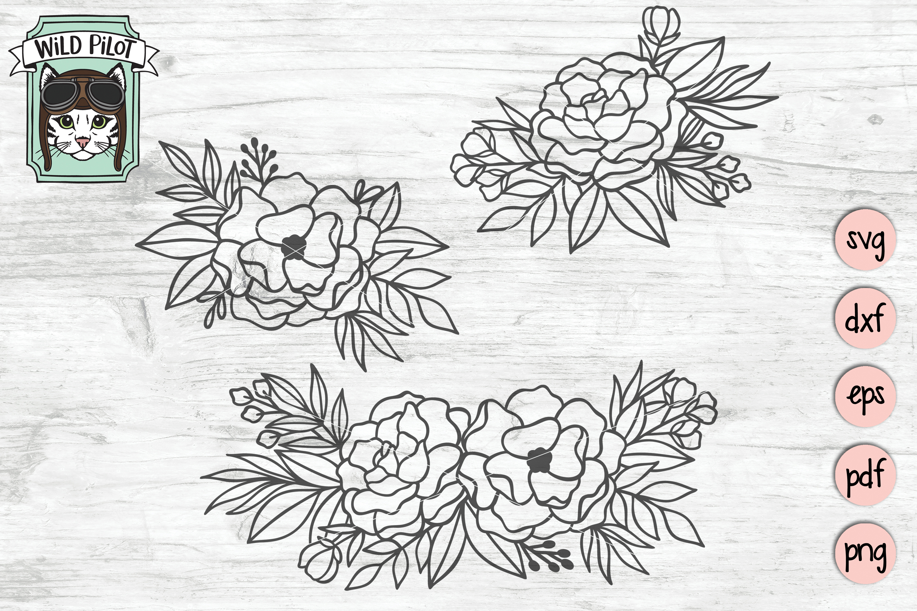 Flowers SVG file, Flower Border, Floral cut file, Roses example image 1