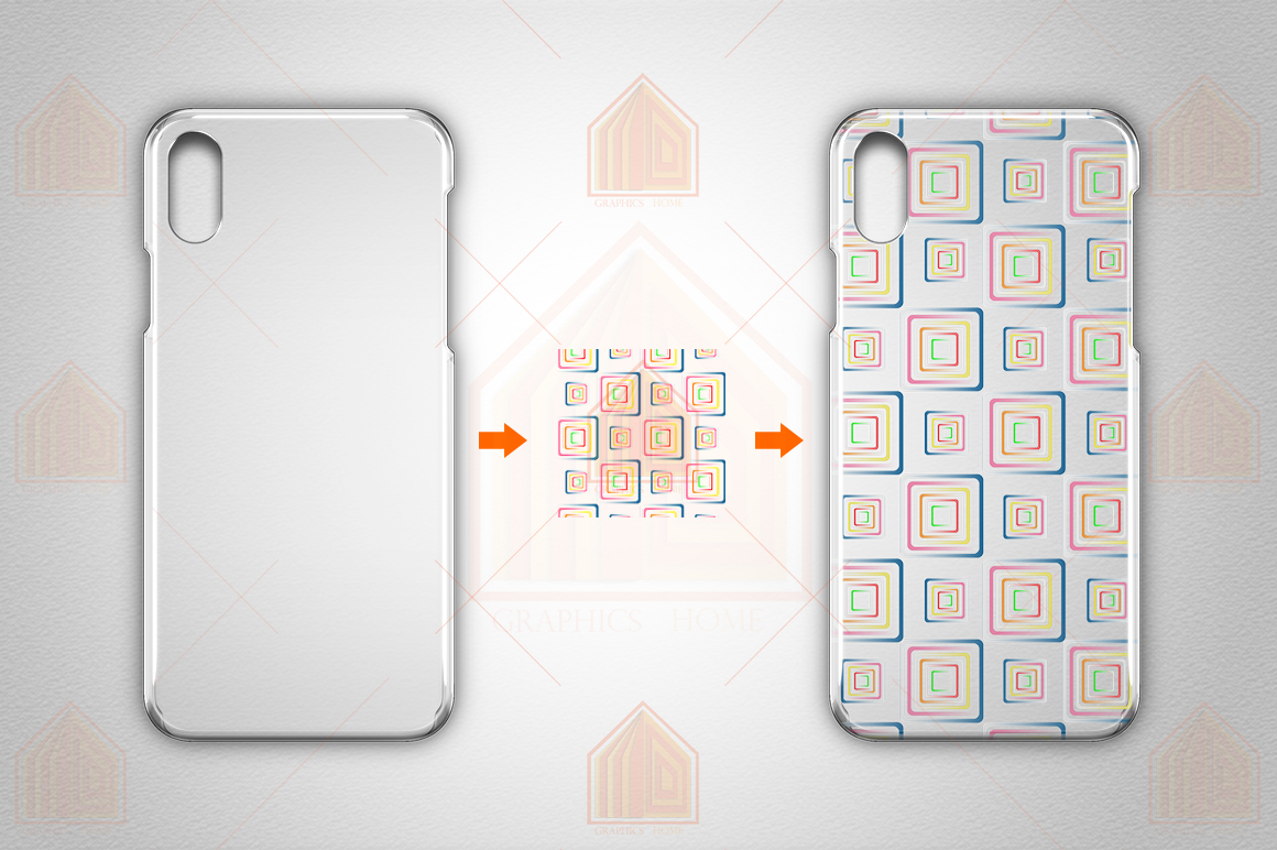 Apple iPhone X 3dCrystal case design Mock-up Back View example image 2