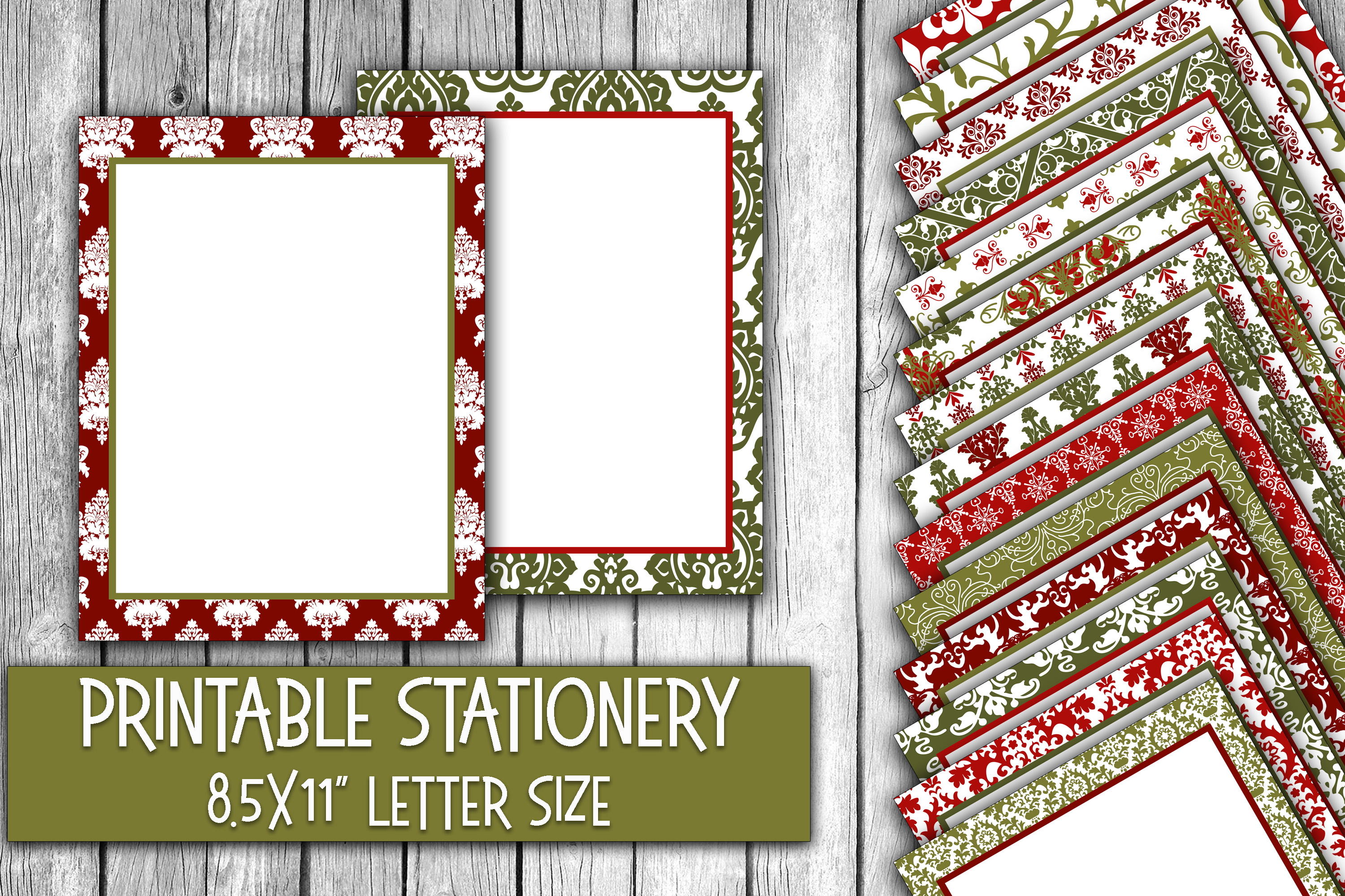 Christmas Stationery - Red and Green Christmas Damask Paper example image 1