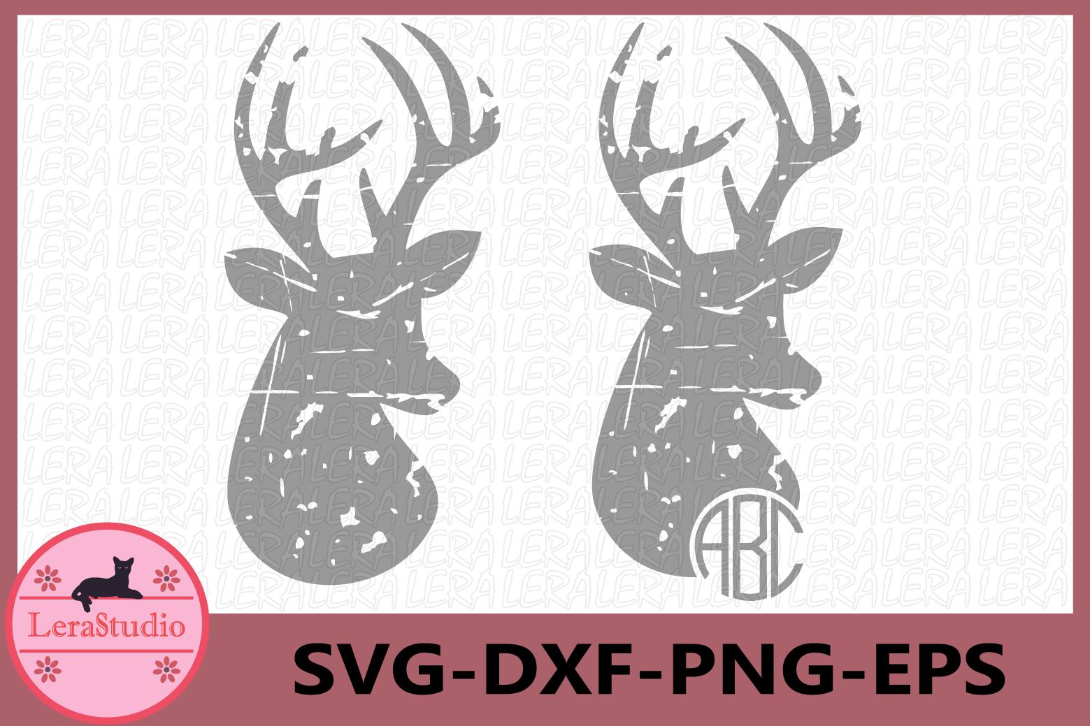 Deer Grunge Svg, Deer Distressed SVG Files, Deer Print example image 1