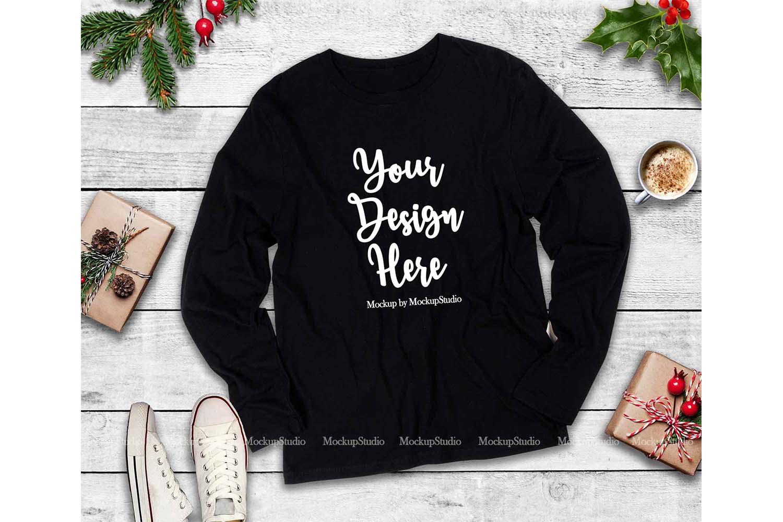 Next Level 3601 Black Christmas Long Sleeve Shirt Mockup example image 1