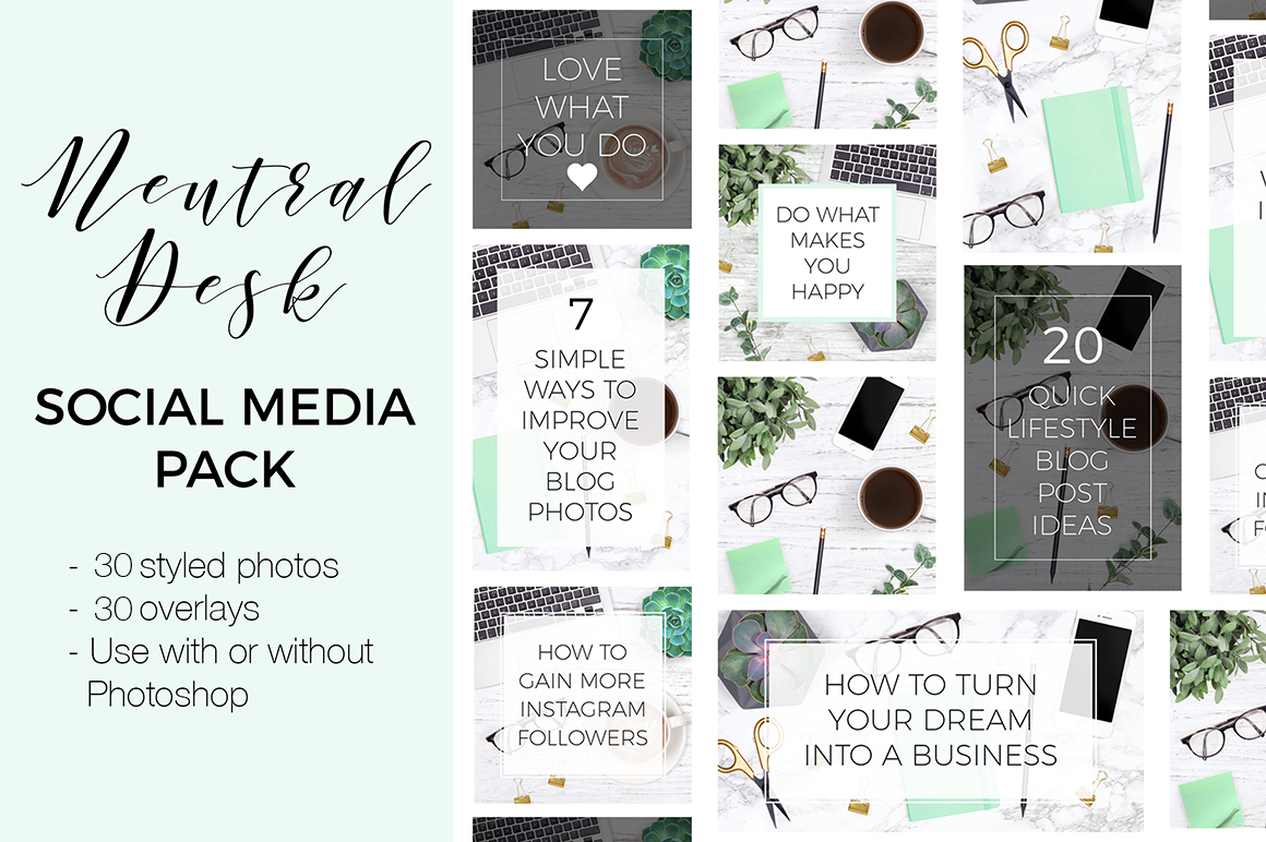Social Media Kit - Neutral Desk Theme example image 1