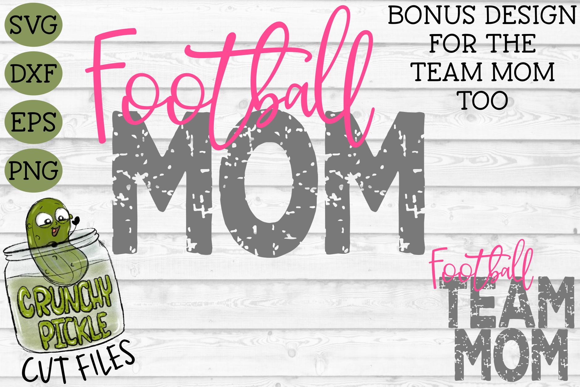 Football Mom & Bonus Team Mom Sports SVG Cut File example image 2