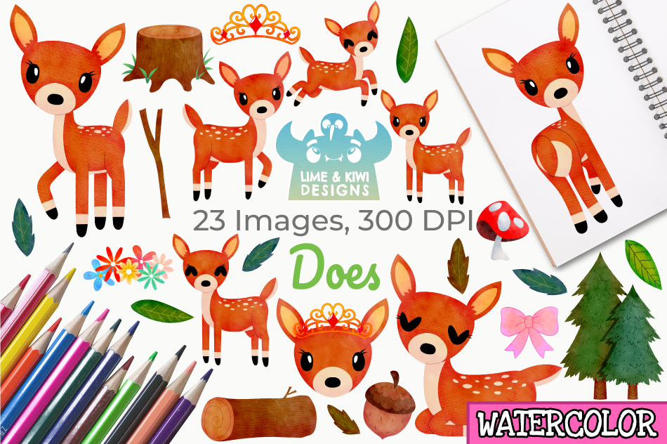Does Watercolor Clipart, Instant Download Vector Art example image 1