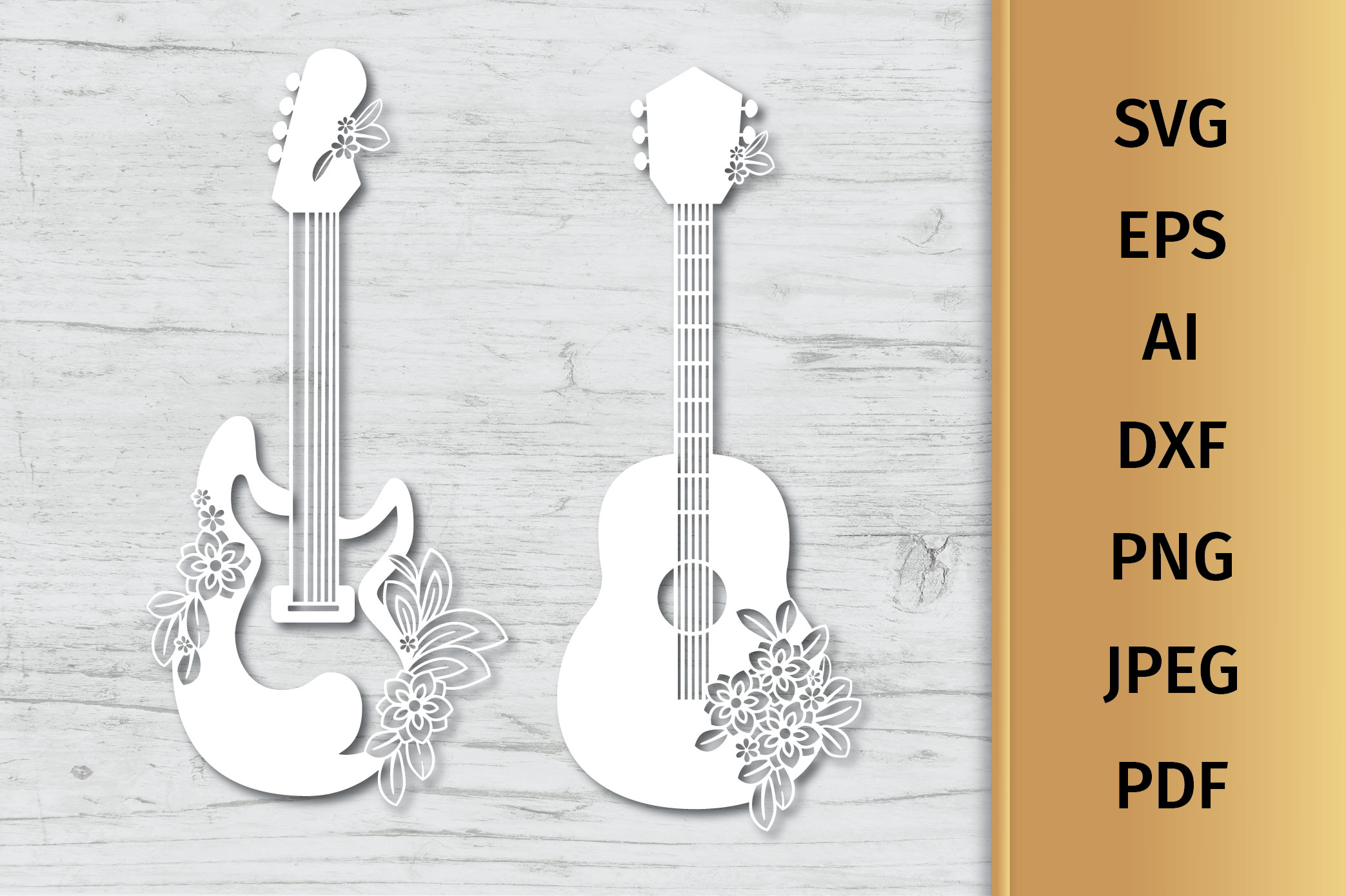 Floral Guitars SVG example image 4