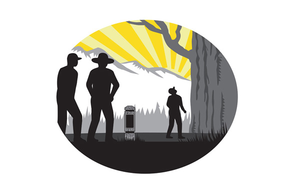 Trampers Mile Marker Giant Tree Oval Woodcut example image 1
