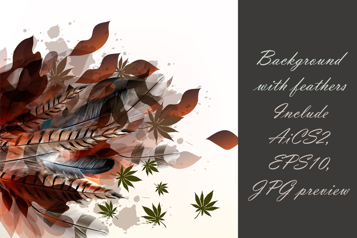 Colorful feather bundle. Vector illustrations and elements example image 12