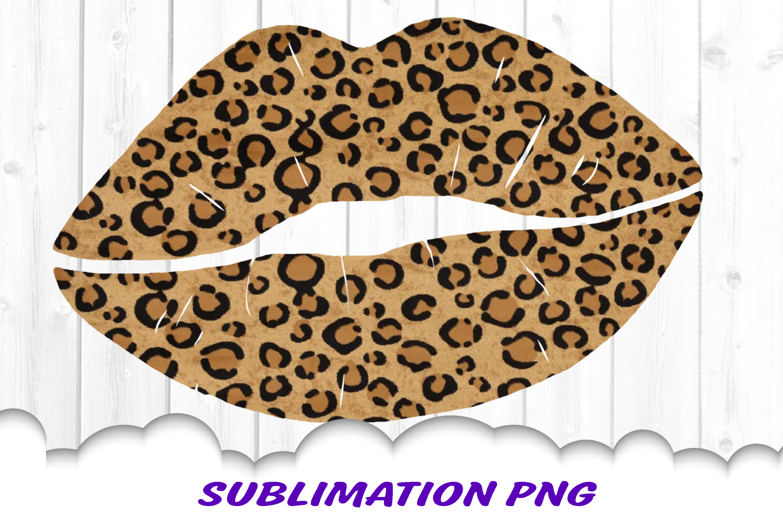 Leopard Print Lips Sublimation PNG Design example image 1
