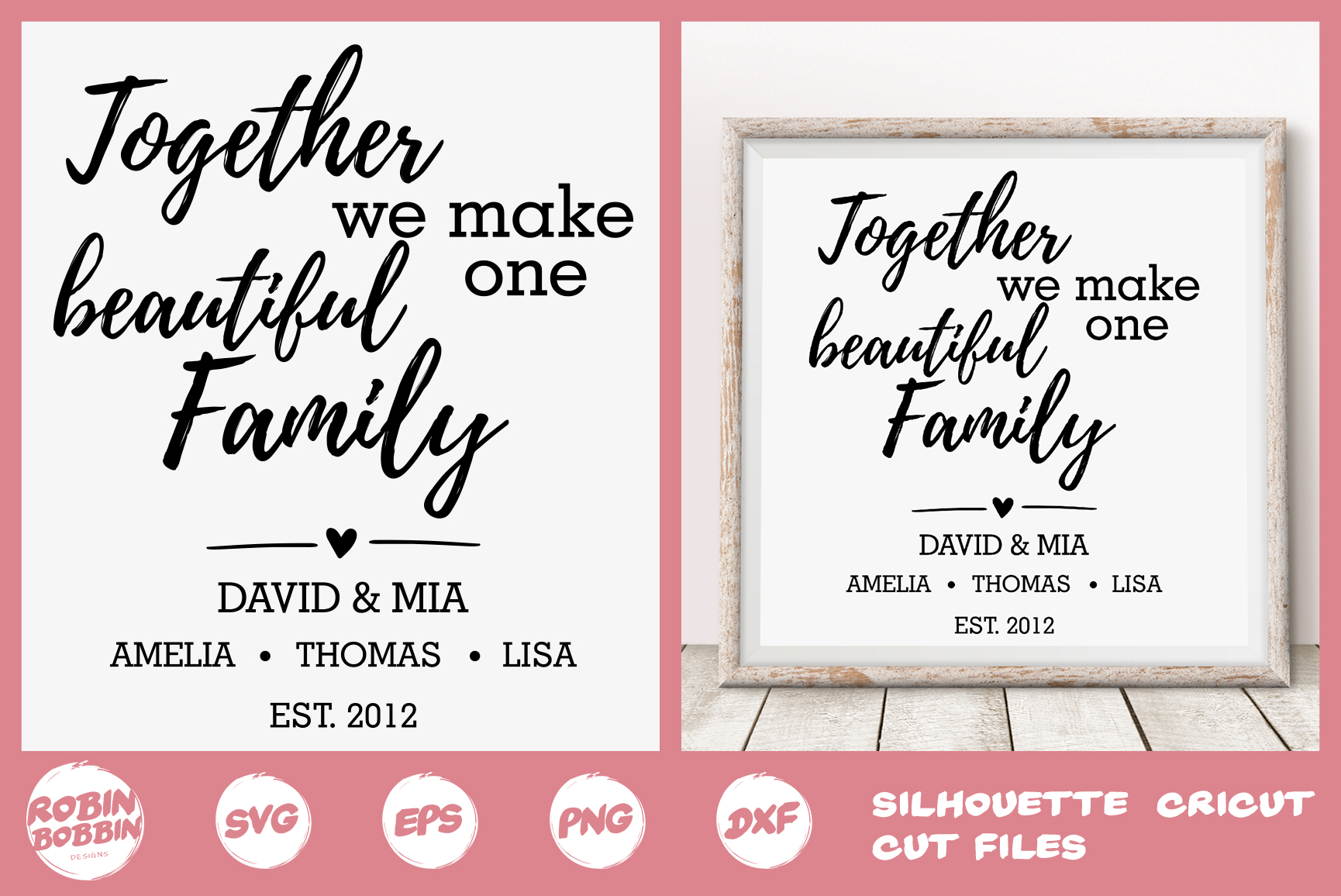 Family SVG, Newlyweds SVG, In Love svg, Personalized Family example image 1
