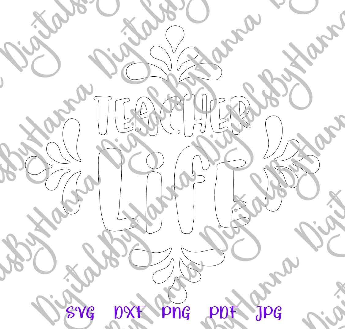 Teacher Life Sign Appreciation Print & Cut PNG SVG DXF PDF example image 6