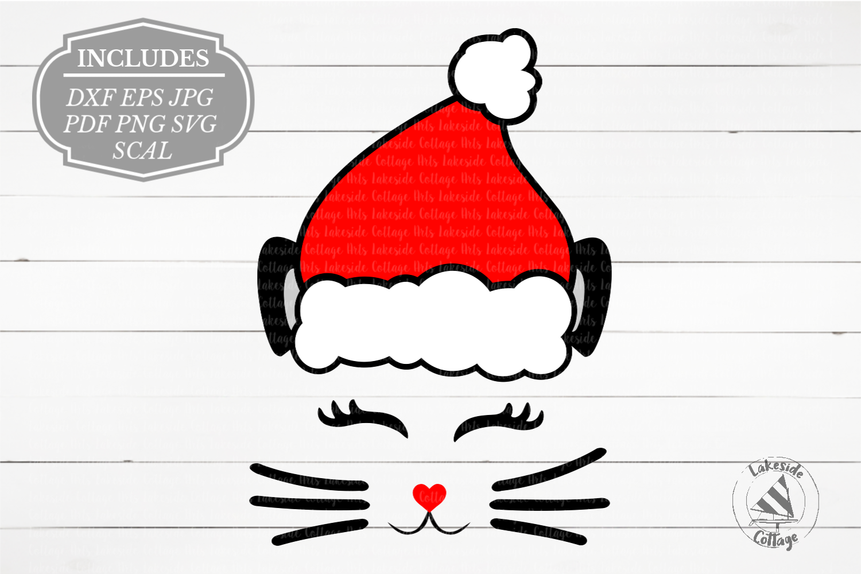 Santa Cat Face Santa Claus Christmas SVG Design example image 1