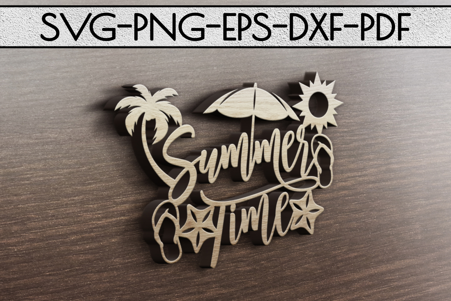 Summer Time Paper Cut Template, Summer Beach Decor SVG, PDF example image 3