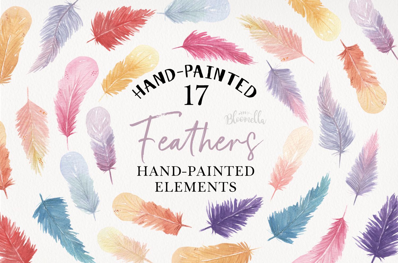 Feathers 17 Watercolor Elements Pastels Boho Bohemian example image 1
