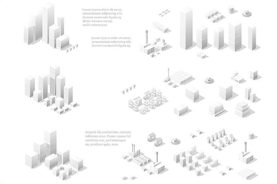 Vector isometric center of the city downtown example image 2