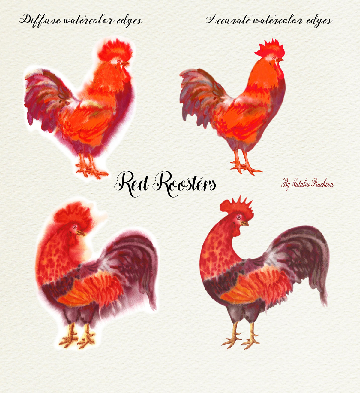 Red Watercolor Roosters example image 5