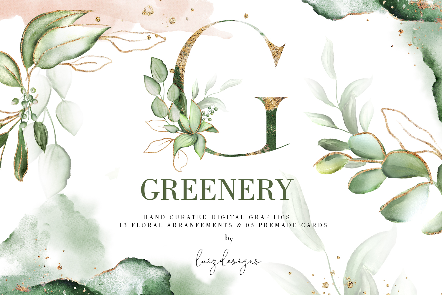 Greenery. Watercolor Elements| Letters gold with flowers example image 1
