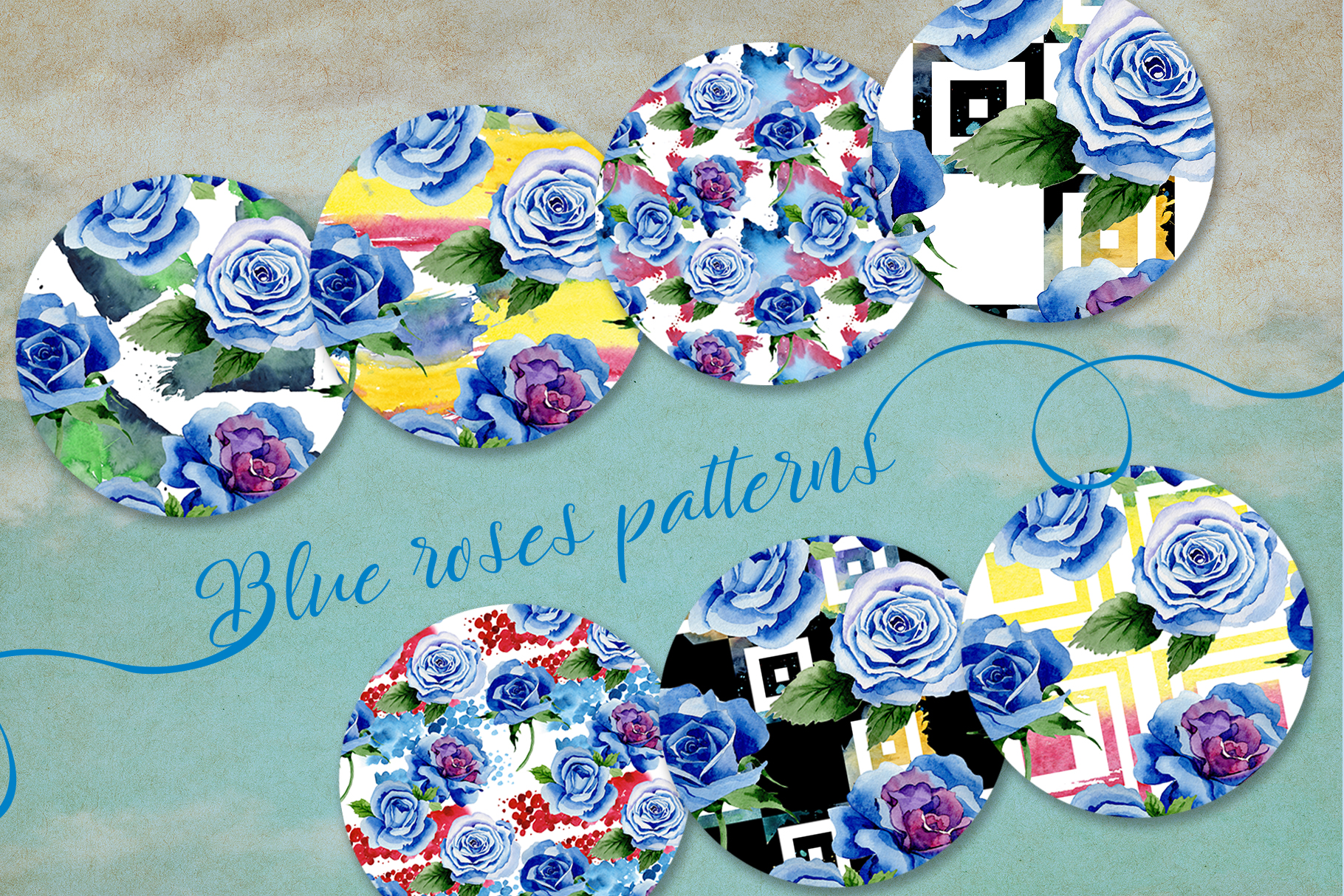 Beautiful blue roses PNG watercolor flower set example image 3