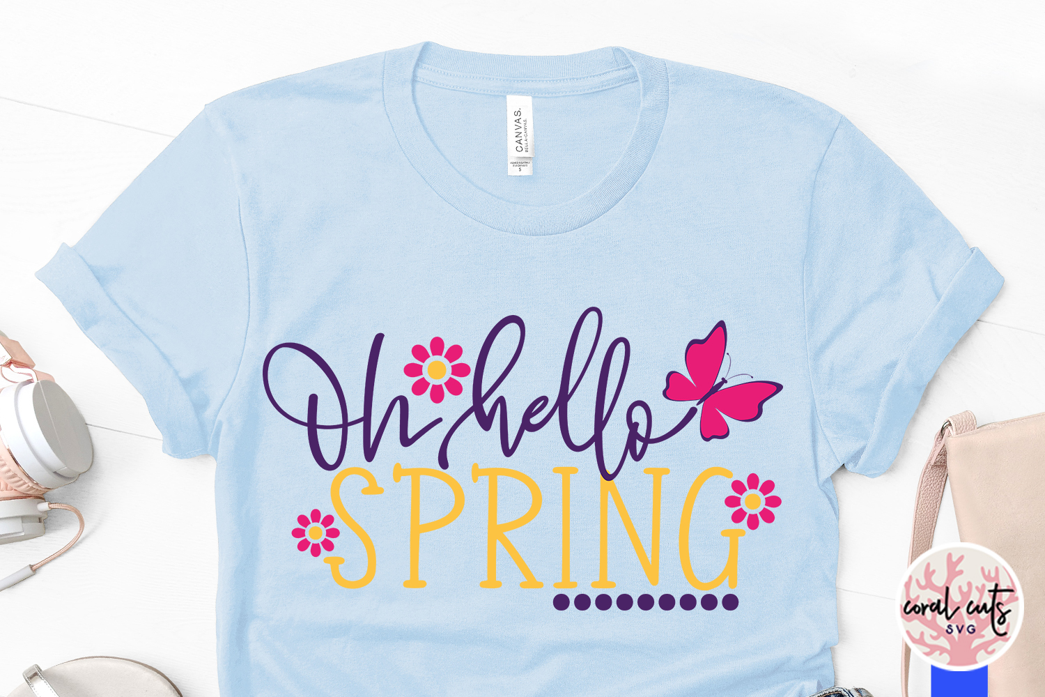 Oh hello spring - Easter SVG EPS DXF PNG Cutting File example image 3