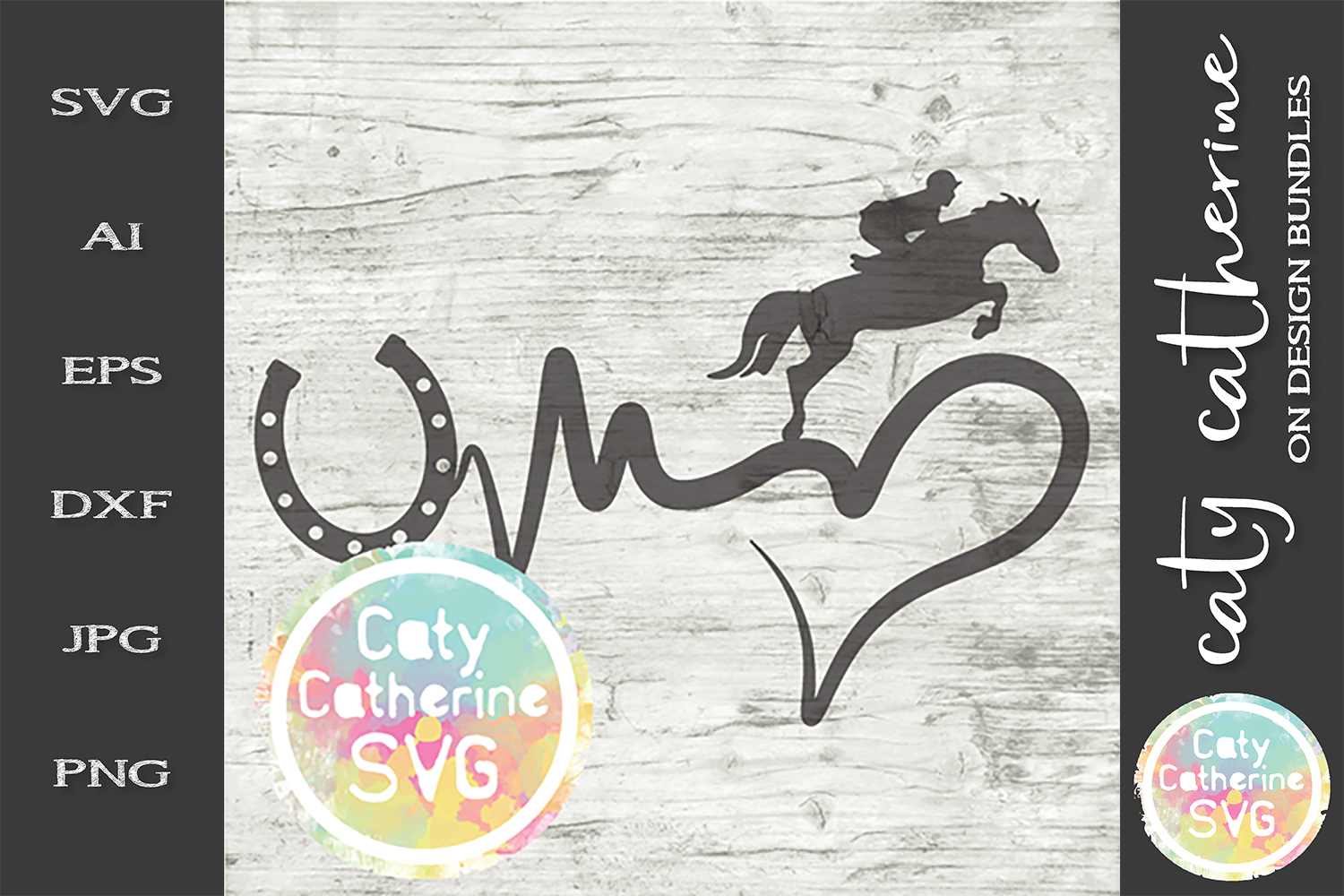 Heartbeat Love Heart Horse Riding SVG Cut File example image 1