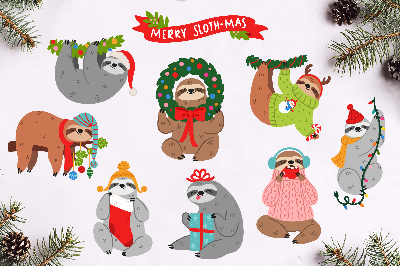 Christmas Sloths Vector Art example image 6