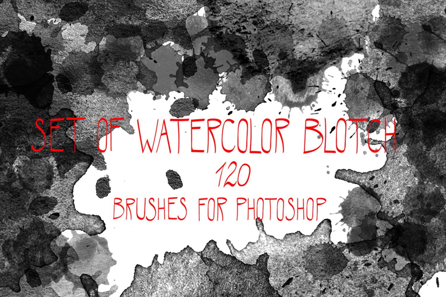 Watercolor blotch brushes set example image 1