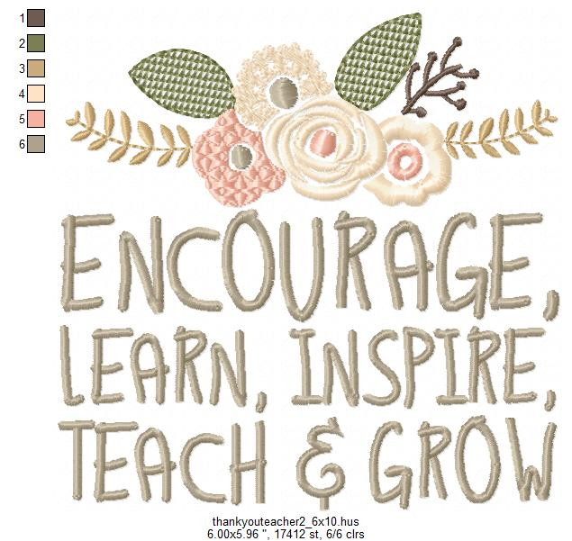 Teachers Day, Thank You Teacher, Quote for Teacher Embroidery Design Instant Download Digital File Hoop 4x4 5x7 6x10 example image 7