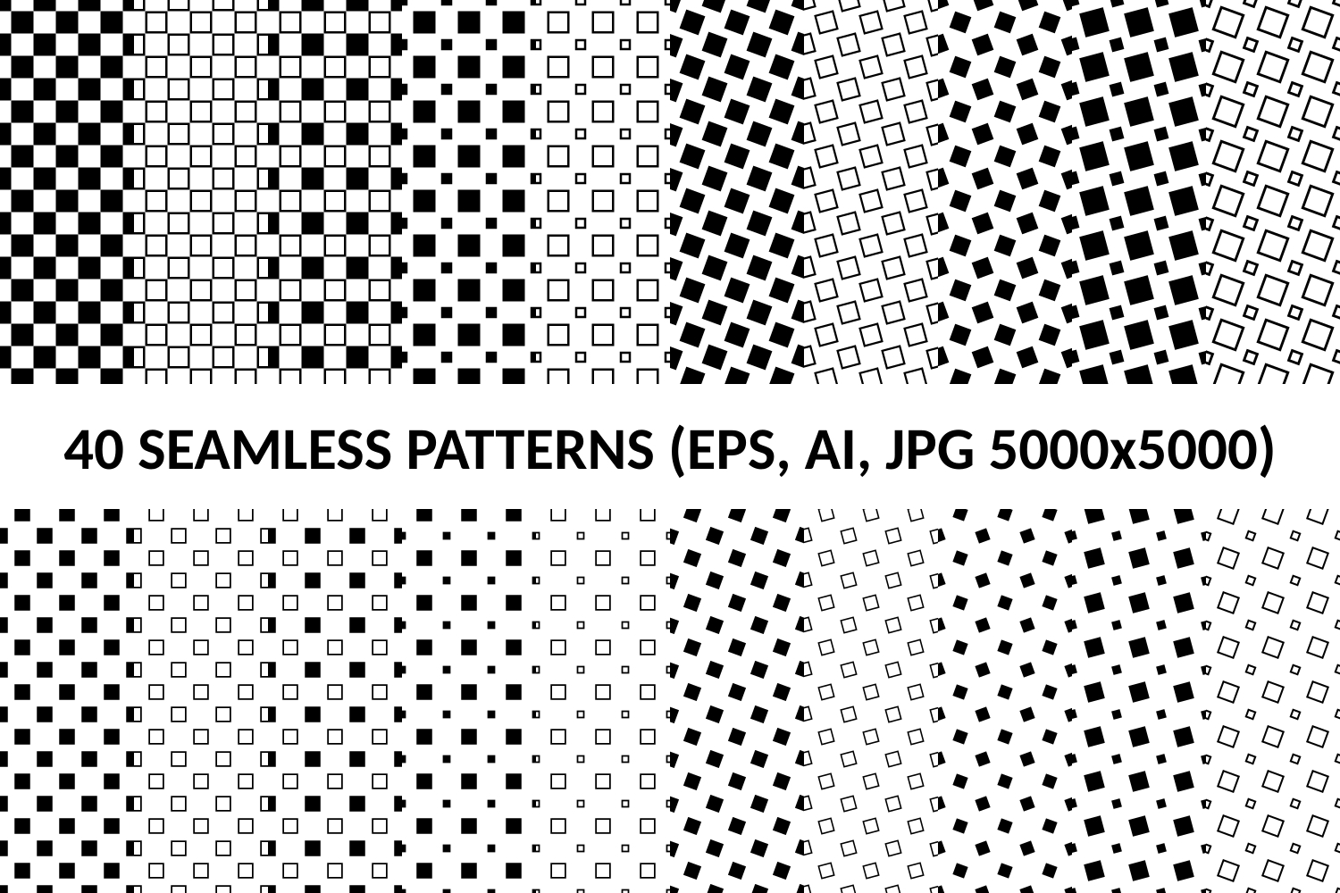 40 Seamless Square Patterns (AI, EPS, JPG 5000x5000) example image 1