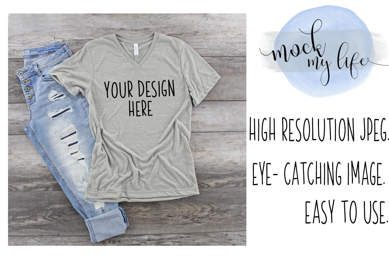 Bella Canvas Mockup / Plain Shirt Mock up / Stone Marble example image 1