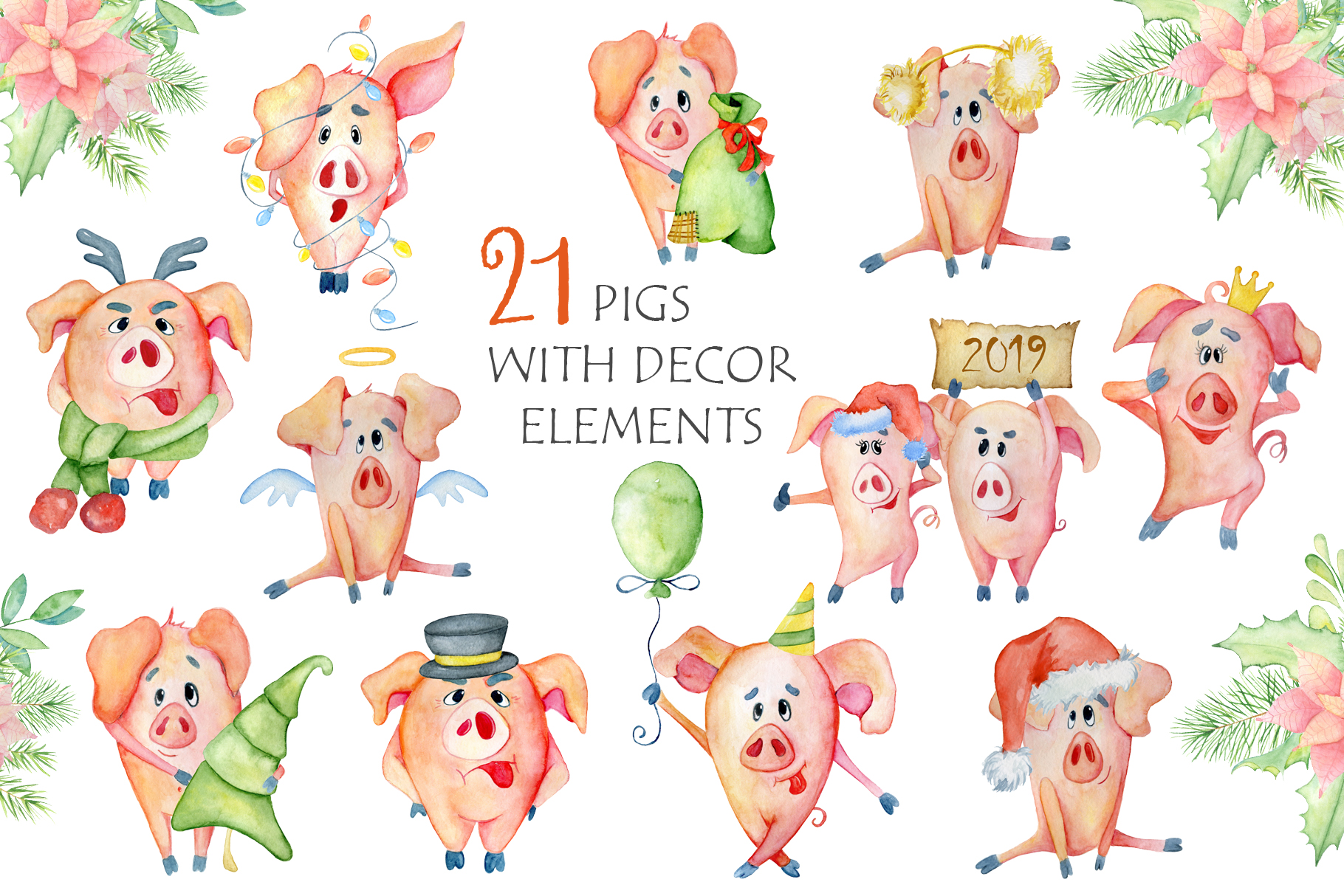 Cute Christmas pigs with decor elements for New Year 2019 example image 6