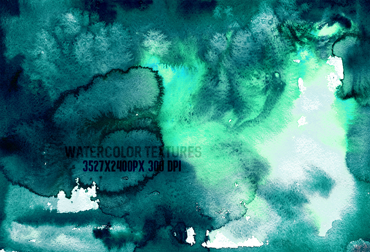 8 Teal watercolor textures, HQ 3527x2400px 300 DPI JPG example image 4