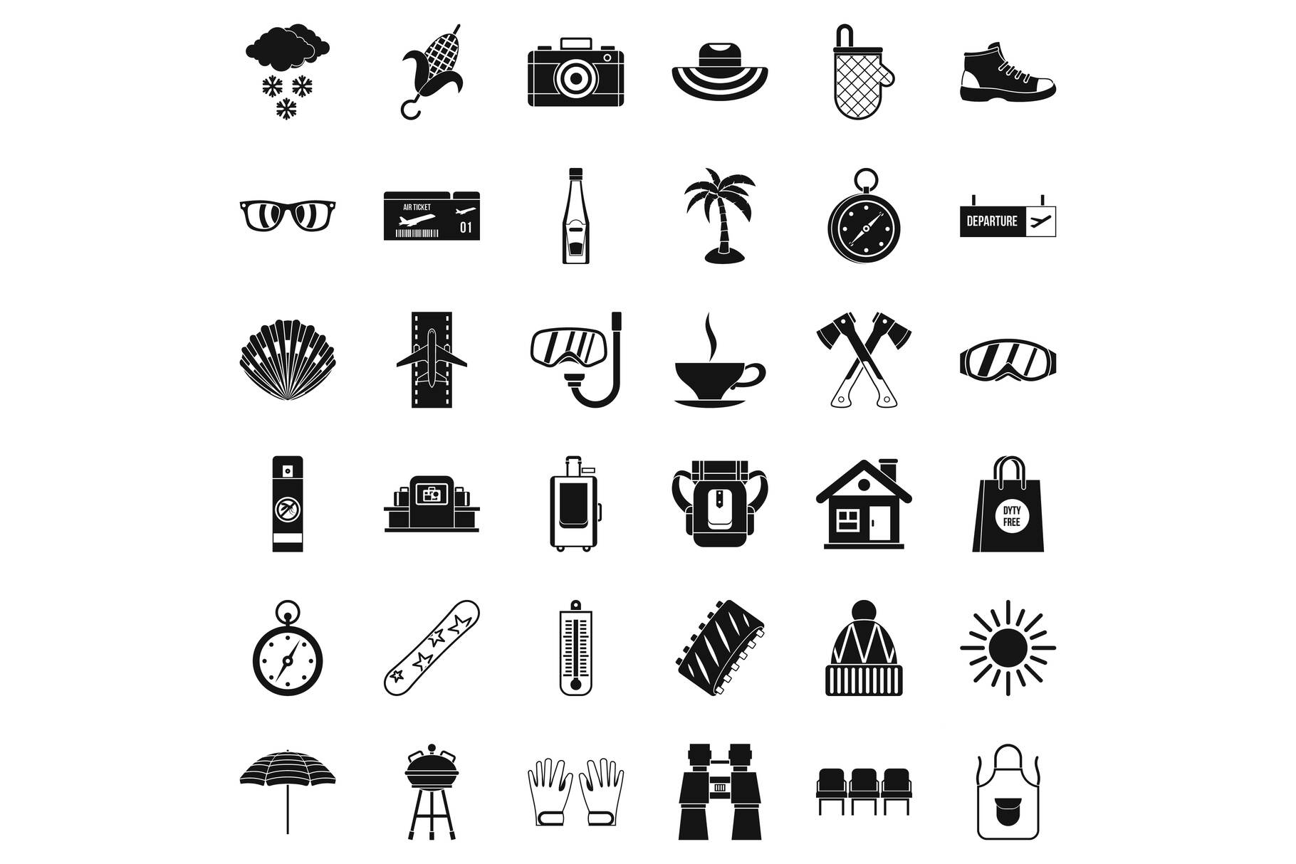 Small vacation icons set, simple style example image 1
